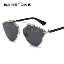 BANSTONE Bola Del Ojo de Gato gafas de Sol de Diseñador de la Marca gafas de Sol Para Mujer de Acero Súper Estrella de La Moda Gafas de Sol Para Hombre gafas de sol de La Vendimia