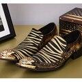 Bella Christia Hombres de Lujo Zapatos de Vestir de Oro Zapato De Cuero Genuino Banquete de Boda de Moda Dedo Del Pie puntiagudo Zapatos Formales de Los Hombres Plana Grande tamaño