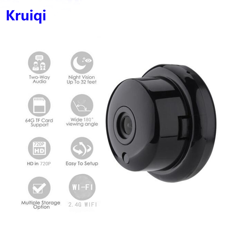 Kruiqi 720P Wireless Mini Camera 2.4G Wifi Camera Support Mobile View Motion Detector And Alarm Camera Wifi Up to 64G App YOOSEE цена