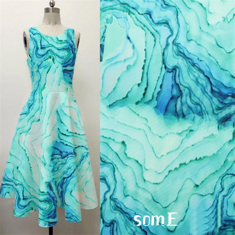 Water Ripple Printed Stretch Neoprene Fabric 90% Polyester 10% Spandex for Fashion Dress