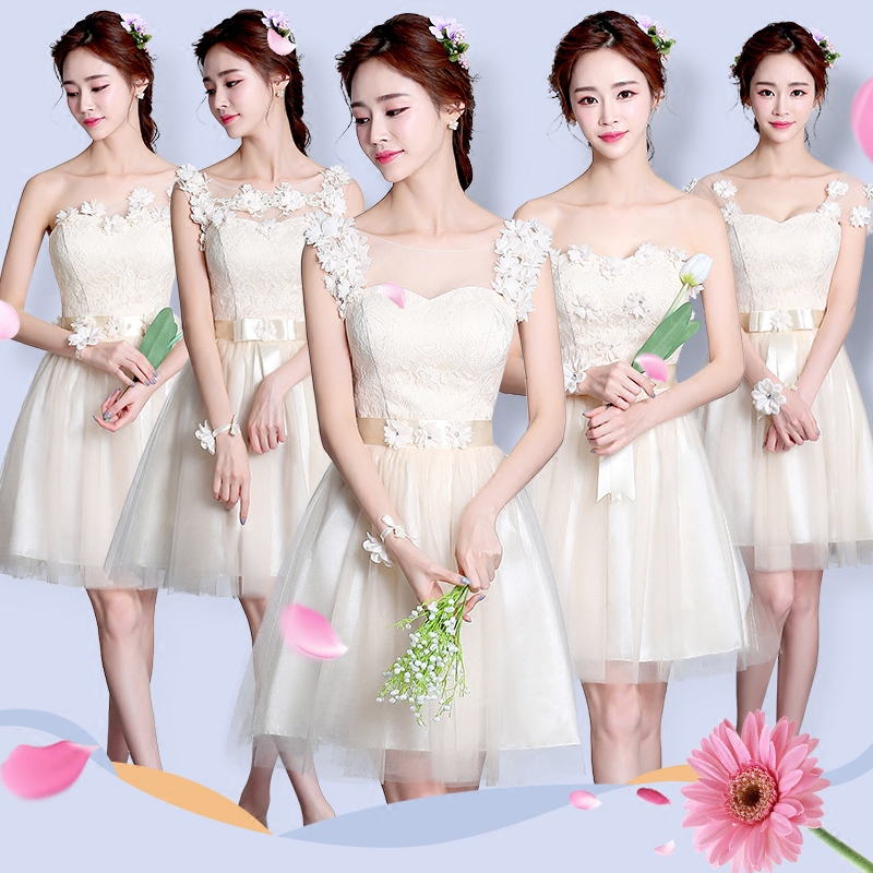 Beautiful Appliques High Low Champagne Bridesmaid