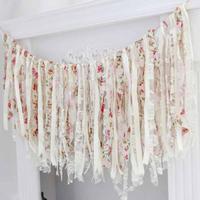 Đảng ren Banner Mô Vintage Chic vải bố linen ren bunting cờ đuôi nheo đối với đảng wedding vòng hoa trang trí cung cấp 3
