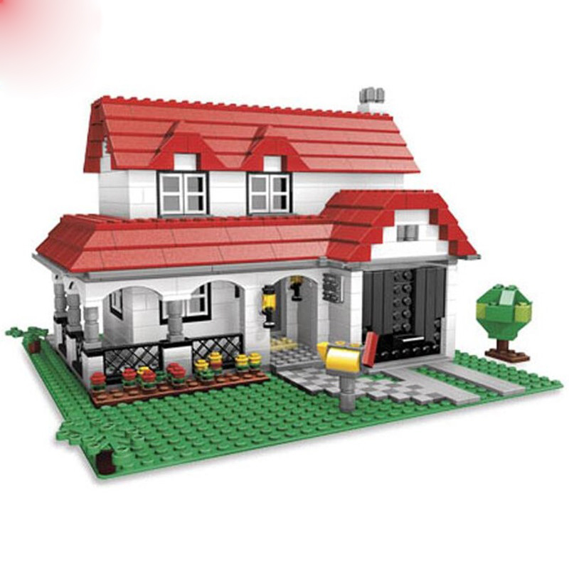 3 In 1 American House 24027 Set Creator Building Block Red Villa 3D Construction Toy Bricks Christmas Gift
