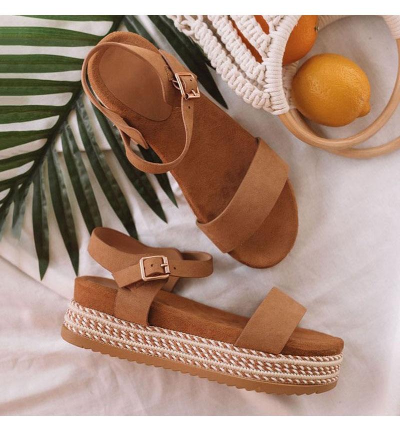 BROWN Summer Women Shoes Platform Sandals Straw Thick Bottom Peep Toe Beach Sandals