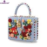 Богиня! Роскошные Италия бренд заклепки сумка из натуральной яловой кожи сумка цветок коробка Для женщин сумки Оригинальные известный диза