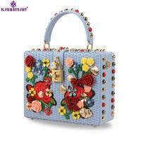 Goddess!Luxury Italy Brand Rivet Bag Genuine Cowhide Leather Messenger Bag Flower Box Women Handbag Original Famous Designer Sac
