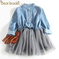 Bear Leader Girls Dresses 2018 New Fashion Princess Clohting Cowboy Stitching Net Yarn Ball Gown Girls
