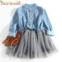 Bear Leader Girls Dresses 2018 New Fashion Princess Clohting Cowboy Stitching Net Yarn Ball Gown Girls
