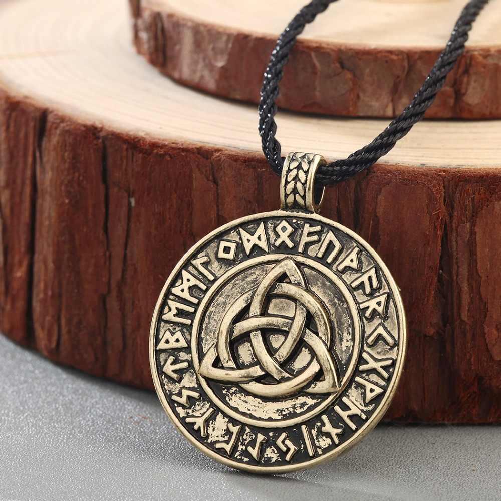 CHENGXUN Nodic Viking wisiorek amulet naszyjnik Viking trinitary Trinity Triquetra knot naszyjnik biżuteria Mammen