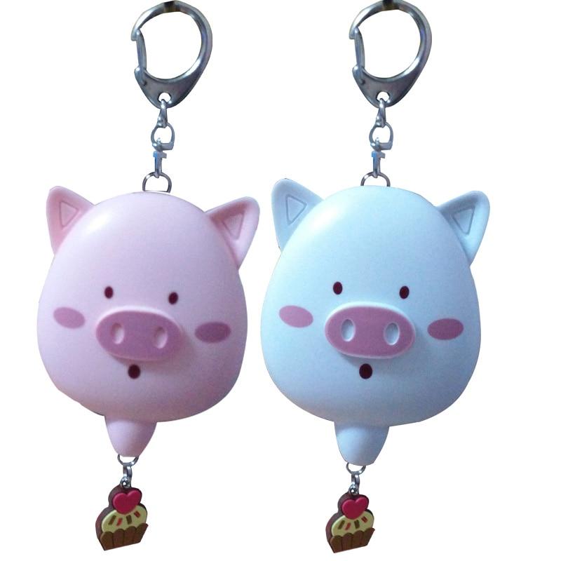 2pcs per bag lovely pig alarm keyring alarm mini keychain alarm mini motorcycle helmet keychain cute keyring