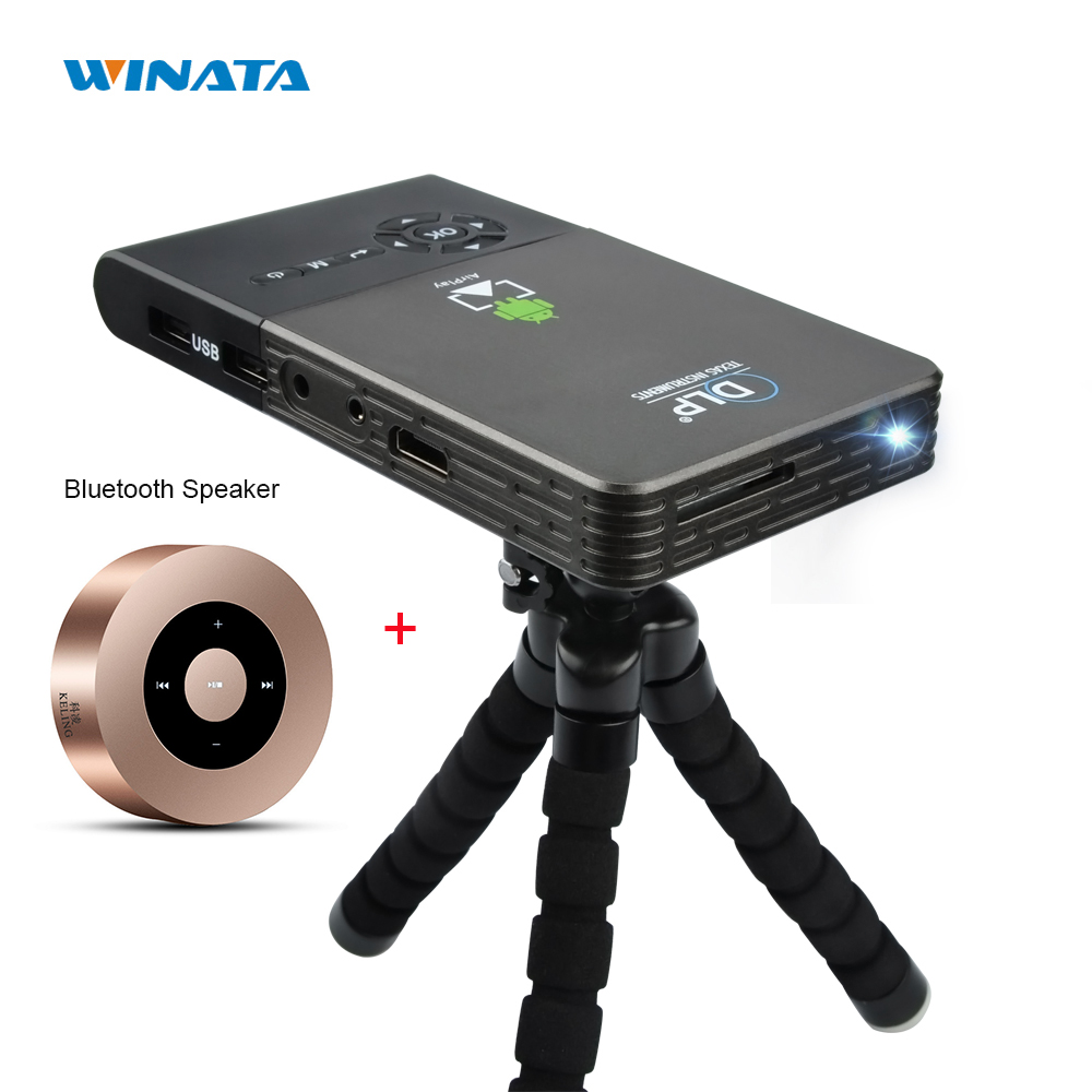 5000 mah Battery Winata C2 Mini Projector DLP Wifi Portable Smartphone Full HD Projector Android Bluetooth Proyector HDMI-OUT