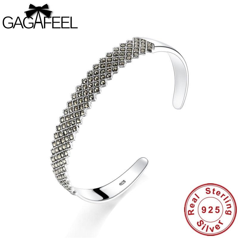 Gagafeel 925 Silver Women Bangle Vintage Fashion Adjustable Open Original S925 Sterling Silver Female Bangles Jewelry Bracelets