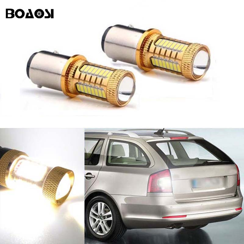 BOAOSI 2x 1156 LED CANBUS Samsung 4014 Chip Backup Reverse Light For Skoda Fabia Praktik Octavia Octavia (1Z3) Octavia (5E3) wljh 2x canbus 20w 1156 ba15s p21w led bulb 4014smd car backup reverse light lamp for bmw 228i 320i 328d 328i 335i m3 x1 x4 2015