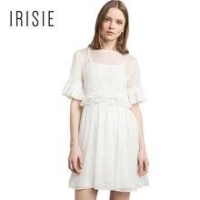 IRISIE Apparel 2017 Women Casual Mesh Sheer Dress Ruffle Hollow Out Female Clothing Vestido O neck