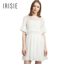 IRISIE Apparel 2017 Women Casual Mesh Sheer Dress Ruffle Hollow Out Female Clothing Vestido O-neck Half Sleeve Summer Dress