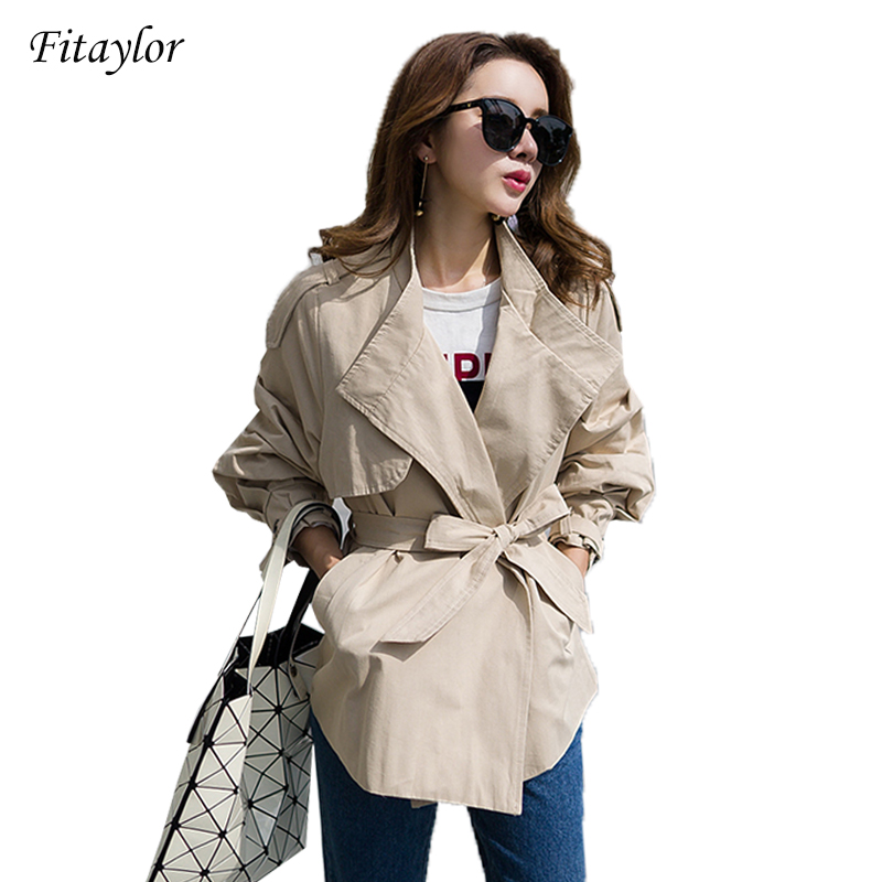 Fitaylor New Spring Fashion Autumn Women s Loose Clothing Clothes For Lady With Belt Casual Trench