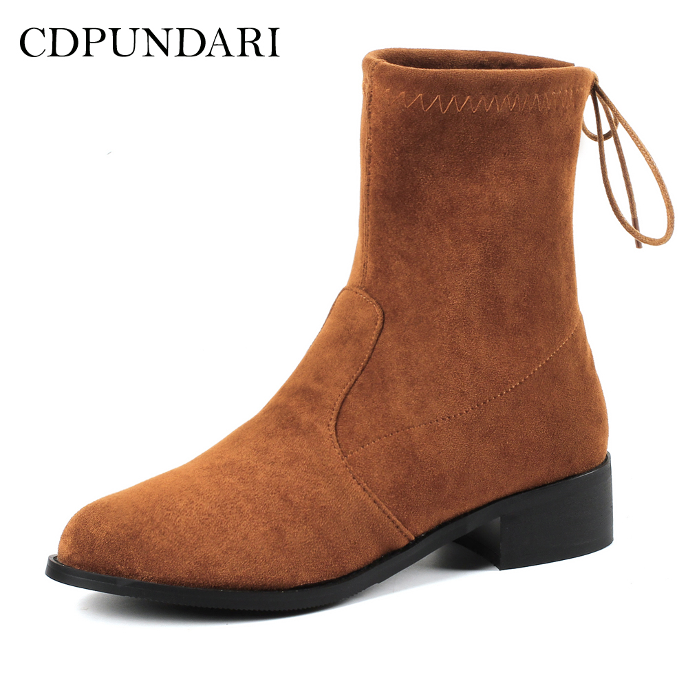 bb0e3d19fe11d0 D'hiver Chaussures Faible Dentelle Dames marron Talons Troupeau Jusqu'à La Femmes  Bottes À Pour ...