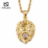 Kalen Hip Hop Lion Necklace Stainless Steel Gold Color Punk Animal Lion Head Pendant Necklace For