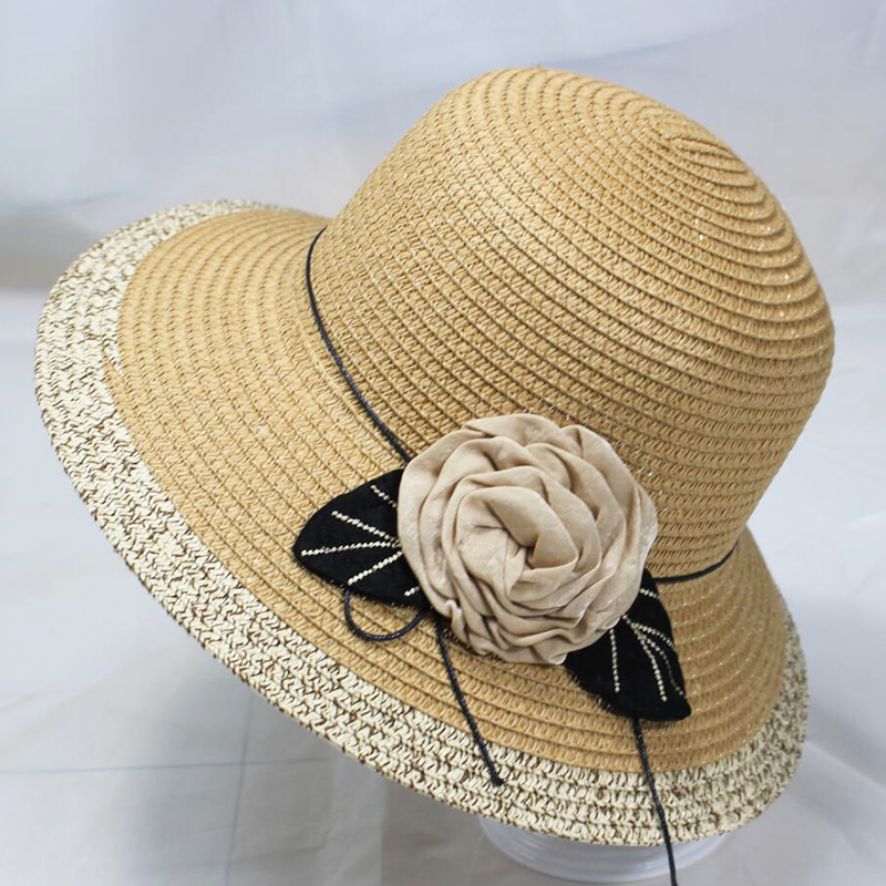 BINGYUANHAOXUAN Hot Korean Straw Sun Hats For Women Beach Cap Anti UV Summer Cap For Flower Ladies Straw Hat with Wide Brim Hat in Women 39 s Sun Hats from Apparel Accessories