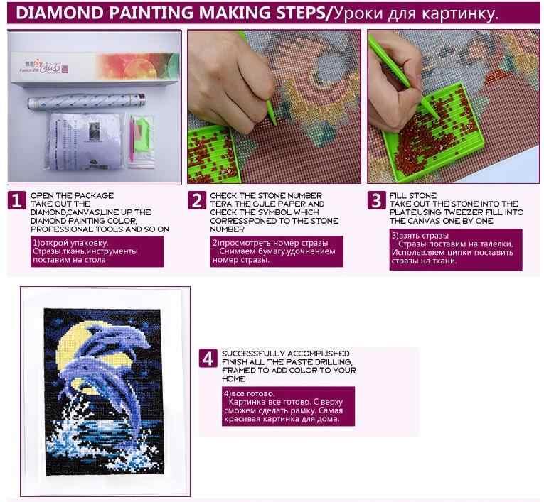 3D Diy Diamond Painting Cross Stitch Sailboat Rhinestones Crystal Diamond Embroidery Mosaic Needlework Moon and Ship Wall Crafts