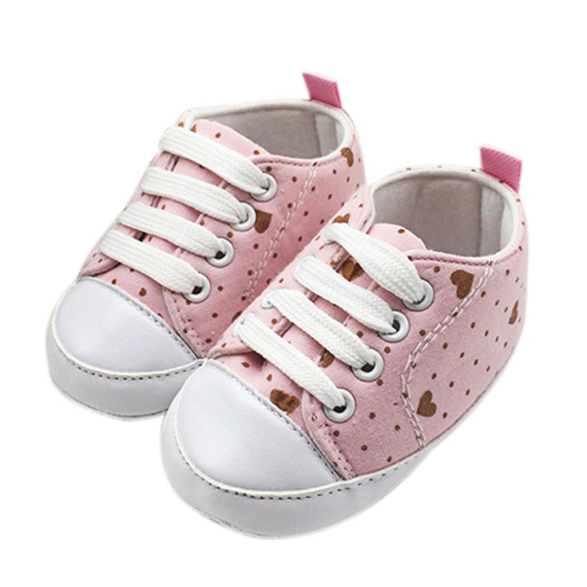 Infant Newborn Baby Girls Polka Dots Heart Autumn Lace-Up First Walkers Sneakers Shoes Toddler Classic Casual Shoes 17Dec29