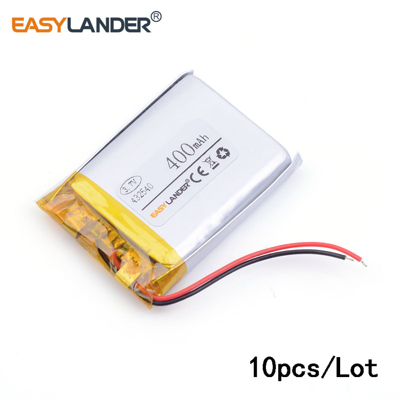 10pcs/Lot 432540 400mAh 3.7V lithium polymer battery point reading pen driving recorder PS Bluetooth Headse MP3 MP4 GPS