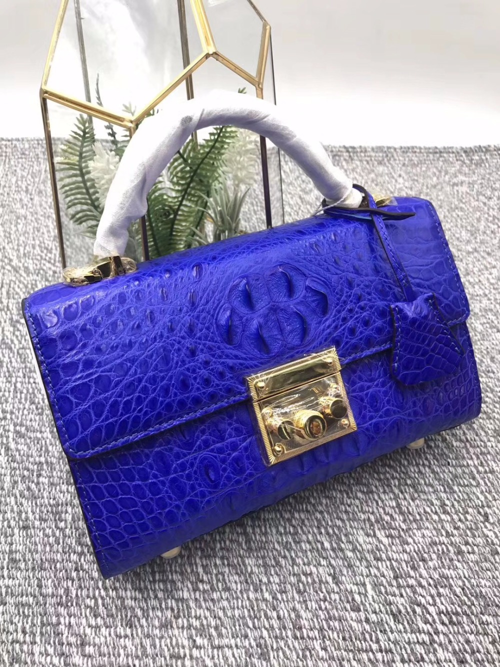 Luxury Jewelry Blue Genuine Alligator Skin Women Small Purse Exotic Crocodile Leather Female Ladies Single Cross Shoulder Bag