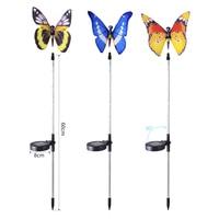 3pcs Garden Solar Lights Outdoor Multi color Changing LED Fiber Optic Butterfly Decorative Light M25