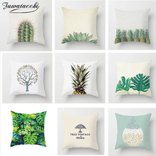 Fuwatacchi Tropical Style Print Cushion Cover Cactus Pineapple Tree Leaf Pillow Covers Throw Sofa Home Decor Pillowcase