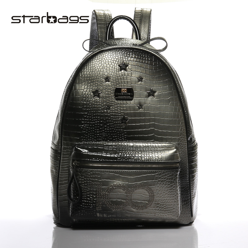 Star bags boy london fashion girls punk style rivet leisur backpack PU Leather SchoolBags for women and men fashion bags fashion letter label embellished shinning pu baseball cap for men and women