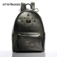 Starbags fashion girls punk style rivet leisur backpack PU Leather SchoolBags for women and men fashion bags