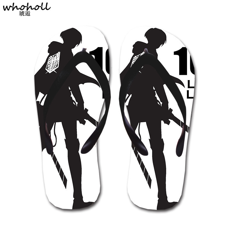 WHOHOLL Attack on Titan Print Flip Flops Summer Beach Slippers Man Women Couples Soft Sandals Slippers Flat Female Ladies House in Slippers from Shoes