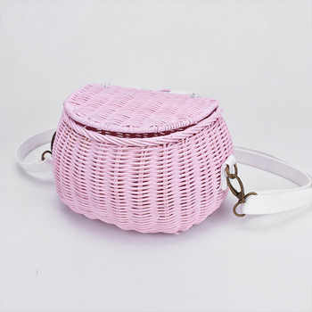 6 color Children\'s adults rattan wintage beach straw bag women shoulder messenger bamboo basket bag - DISCOUNT ITEM  25 OFF Luggage & Bags
