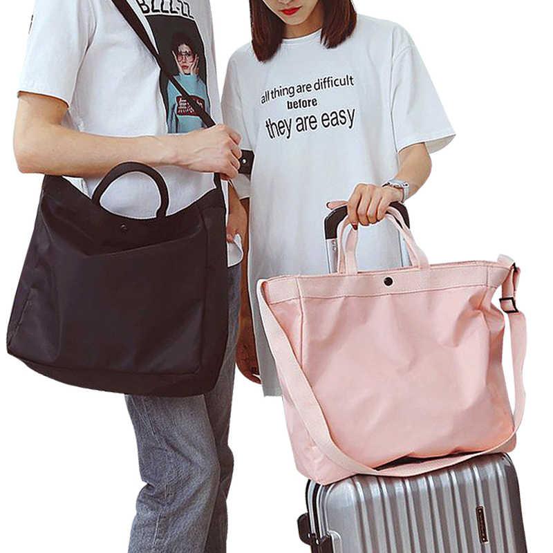 Bolso de viaje impermeable de nailon para mujer bolso de lona suave bolso de viaje de fin de semana de hombro para mujer 16 T
