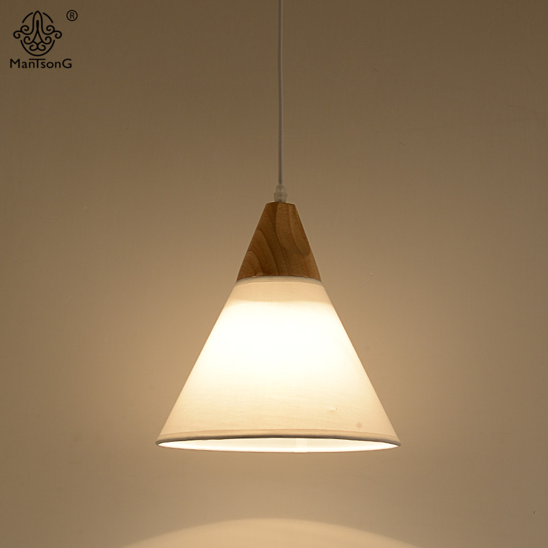 2017 Wooden Pendant Lamp Nordic Modern Style White&Black Fabric Lampshade Hanging Light for Bedroom Restaurant Indoor Lighting chinese style wooden pendant lamps bedroom pendant light wooden sheepskin pendant light restaurant lamp lighting zs83