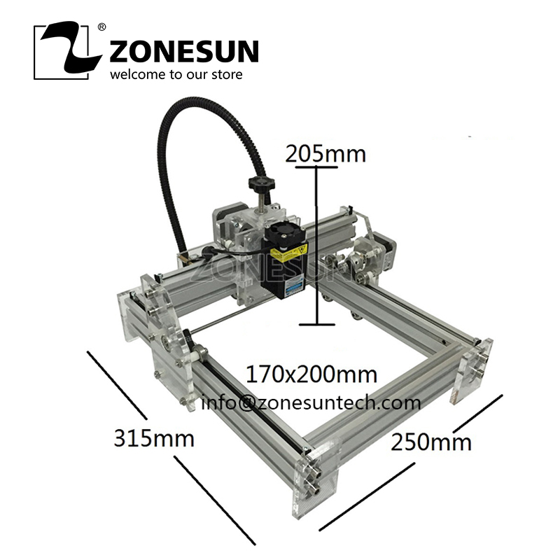 ZONESUN Laseraxe 405nm 2500mW DIY Desktop Mini Engraver Engraving Machine Laser Cutter Etcher 17X20cm Adjustable Laser Power 1000mw diy desktop mini laser engraver engraving machine laser cutter etcher 50x65cm adjustable laser power