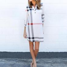 Халат Femme Женщины Повседневная Dress Классическая Плед Отпечатано Dress 2017 Новый Бренд Летние Свободные Dress Shirt Office Dress Плюс Размер