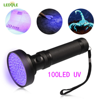 LEDGLE High Quality 100 LED UV Light 395 400nm UV Adhesive Curing Travel Safety UV Detection