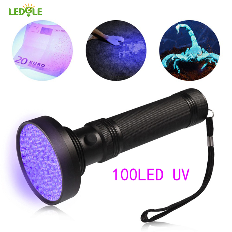 LED Super 100 LEDS UV Light 395-400nm LED UV Flashlight Adhesive Curing Travel Safety UV Detection LED UV Flashlight Torch Lamp