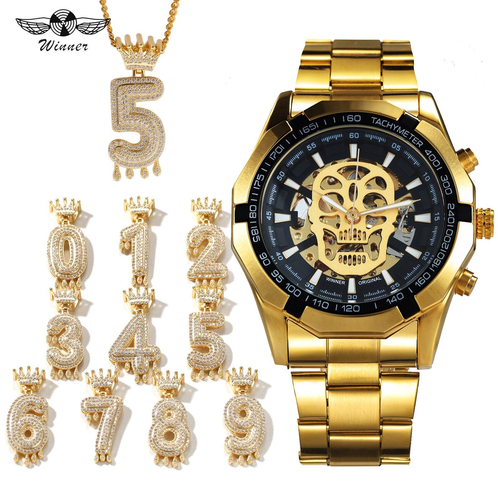 WINNER officiel HIP HOP ensemble de bijoux Auto mécanique crâne montre hommes bracelet en acier montres de luxe Punk + arabe numéro collier
