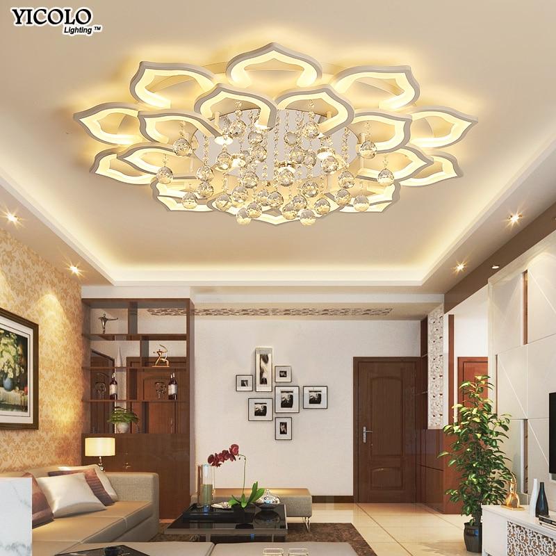 Blanc Acrylique Moderne Lumières Lustre Pour Salon Chambre télécommande Led Lampe intérieure Maison dimmable Luminaires de
