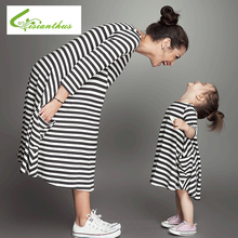 Summer Family Clothes Mother Daughter Dresses Womens Girl Longo Sleeve Striped Mini Dress Matching Kids Parent Outfits