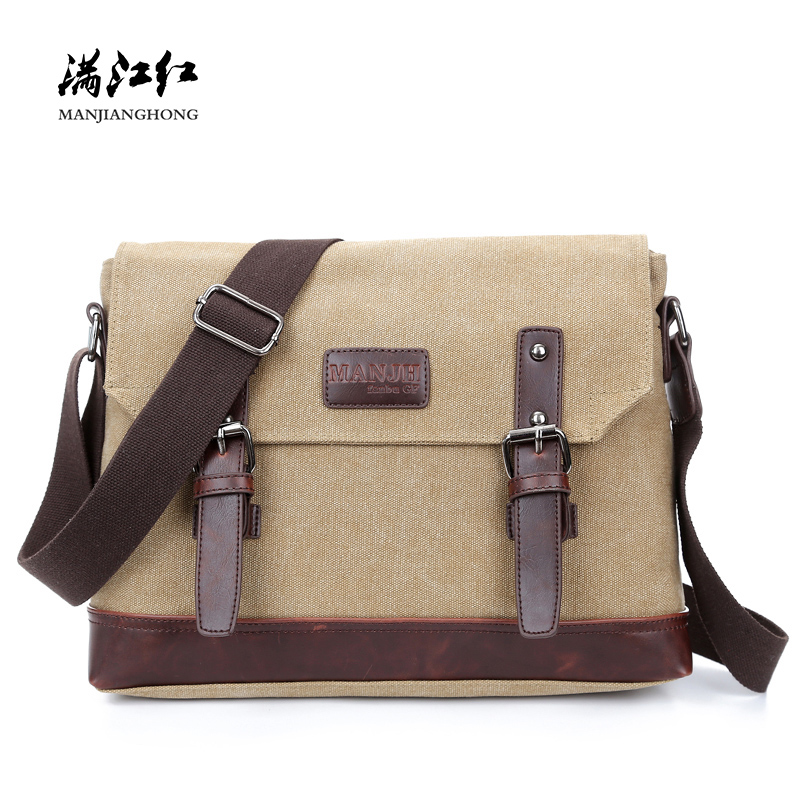 New Arrival Canvas Men Messenger Bags Vintage Crazy Horse Leather Shoulder Bag Men Patchwork Crossbody Bags For Men Satchel 1319