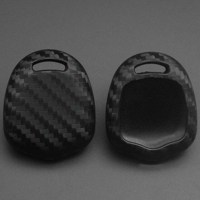 Jingyuqin Carbon Faser Silikon Auto Schlüssel Fall Fob Abdeckung Für Mitsubishi outlander ASX colt LANCER Grandis Pajero Sport Keychain