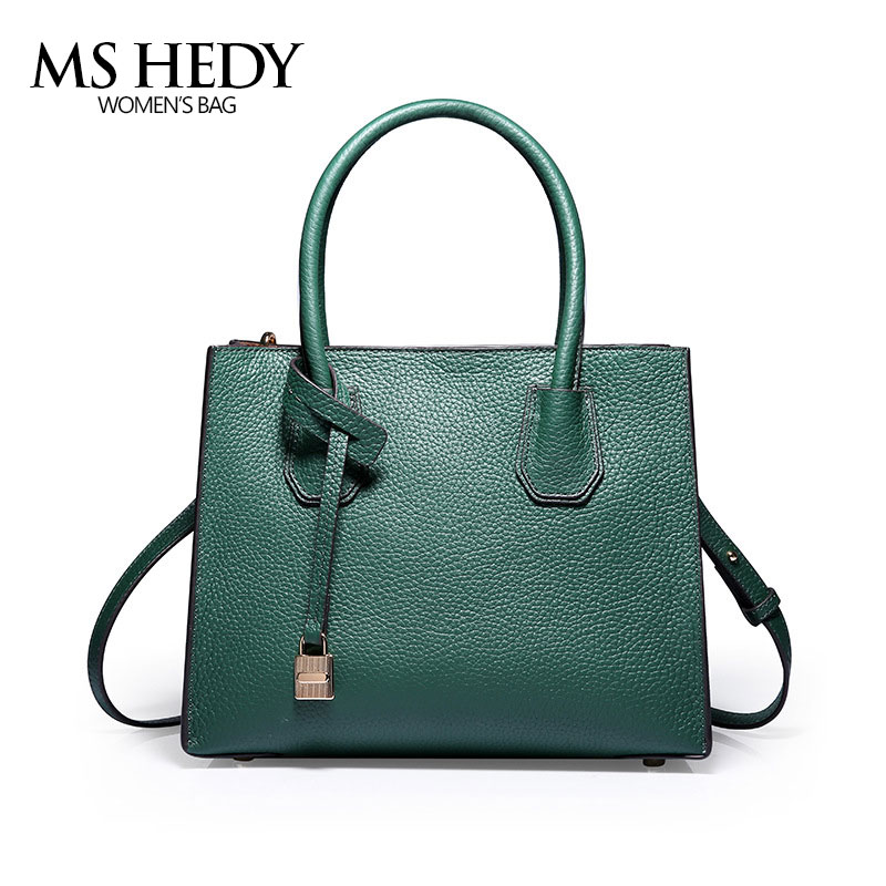 MS HEDY New Leather Women's Tote bag Lock Europe and United States Simple Handbag Shoulder Messenger Bag Crossbody Tote 2017