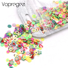 Vopregezi 1000pc / pack Nail Art 3d Fimo Fruit Slices Polymer Clay Nail Designs Stickers Manicure Decorations DIY Tips Accessoires