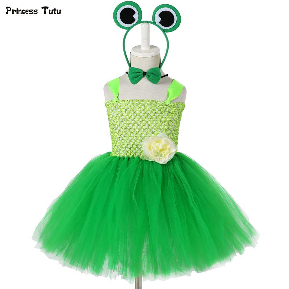 1 Set Green Frog Princess Girls Tutu Dress With Headband Children Kids Halloween Costumes For Girls Birthday Party Dress 1-14Y
