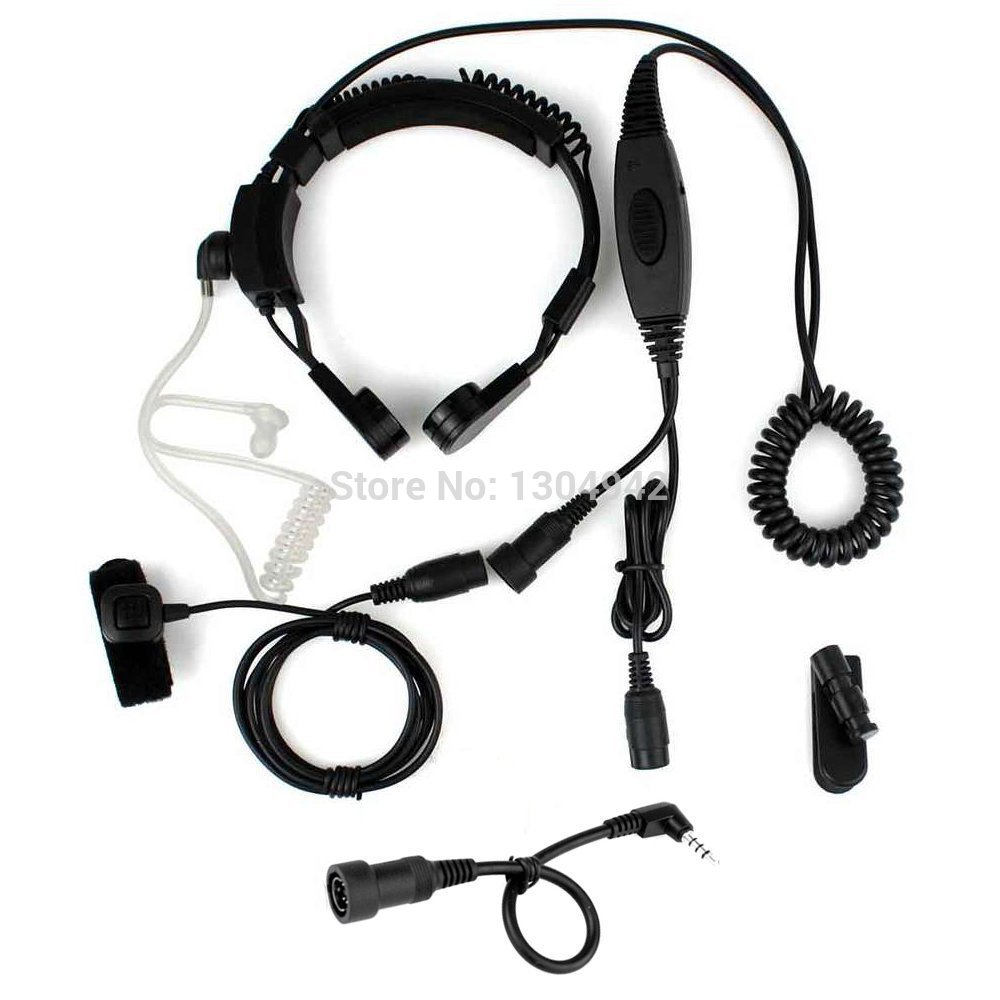 1pin 3.5mm Throat Mic Microphone Covert Acoustic Tube Earpiece Headset For Sa B3