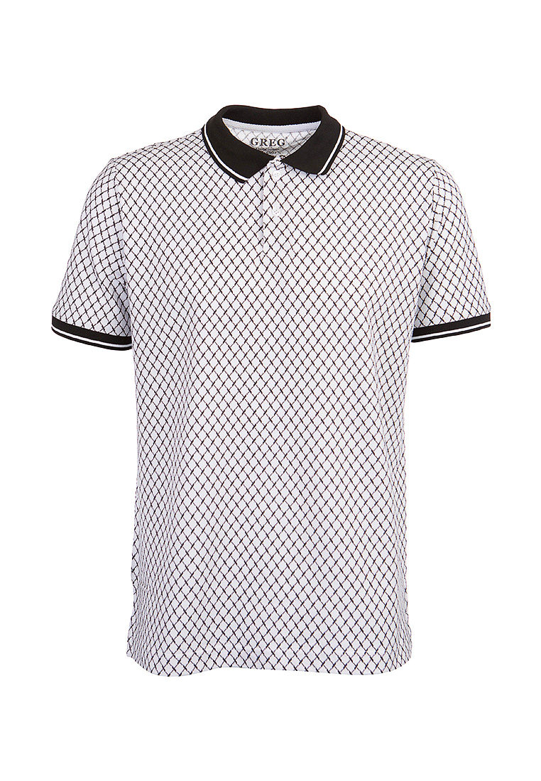 T Shirt polo short sleeve GREG G134 mesh White