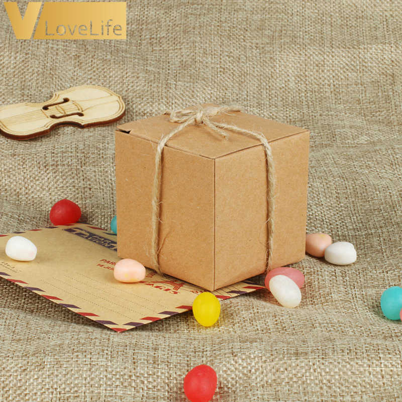 100pcs/lot Square Candy Box Natural Kraft Paper Hemp Rope Brown Paper Box Wedding Favor Gift Party Supply Packaging Supplies